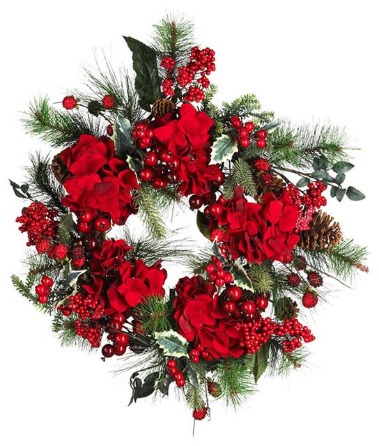 """Nearly Natural 22"""" Hydrangea Holiday Wreath Holiday."""