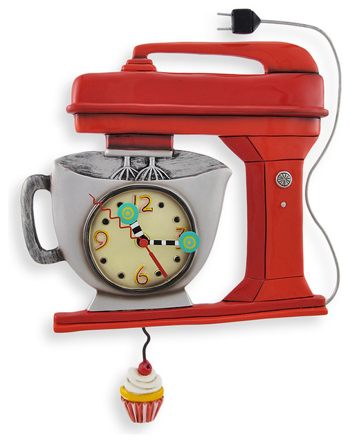 Allen Designs Red Vintage Kitchen Mixer Wall Clock With Cupcake Pendulum  Wall Clocks