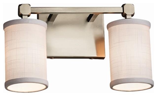 Justice Design Textile Tetra 2 Light Bath Bar, Cylinder Flat Rim,  Incandescent