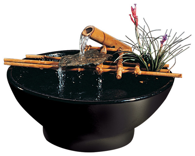 Bamboo black nature bowl water fountain asian indoor - Japanese indoor water fountain ...