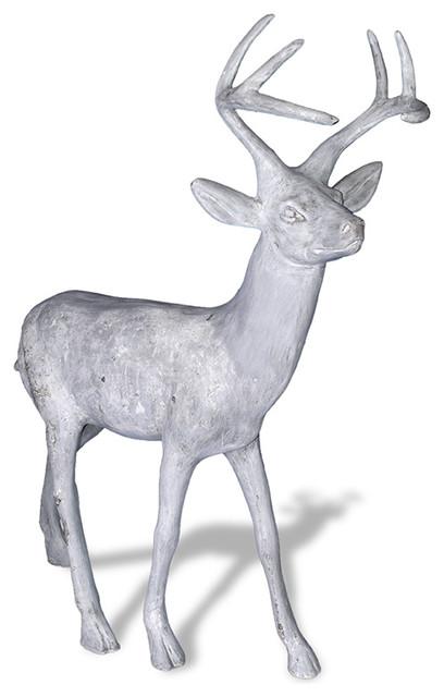 Standing Stag Deer Statue, Lead Gray