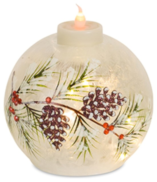 Pine Branch Glassorb With Timer, Set Of 3, 5.25.
