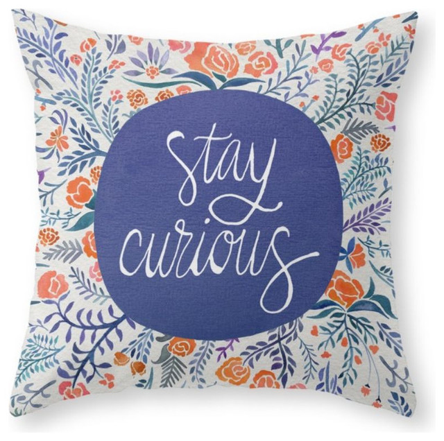 Stay Curious, Navy and Coral Throw Pillow - Contemporary - Decorative Pillows - by Society6