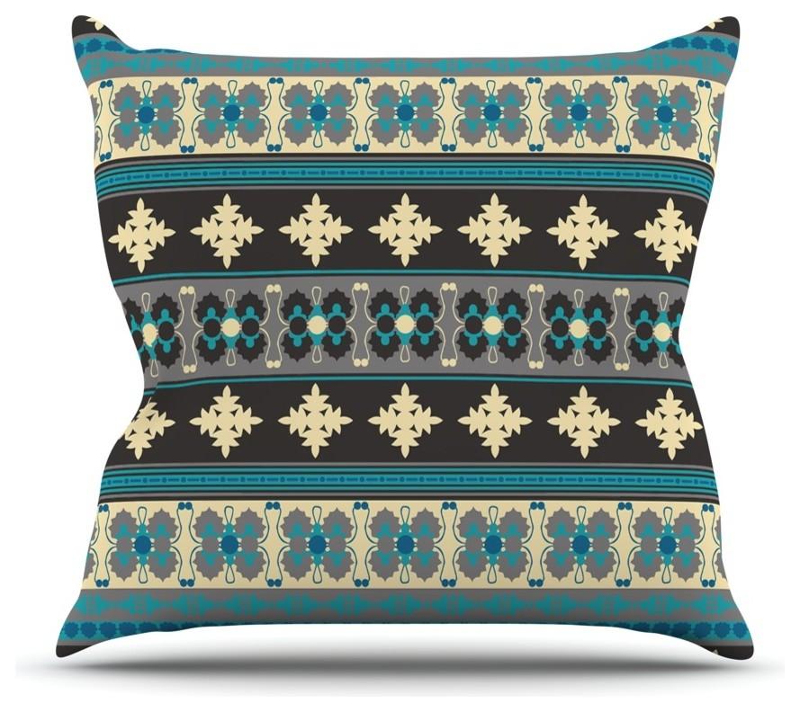 26 Round Floor Pillow Kess InHouse Allison Soupcoff Chevron Pop Yellow Pattern