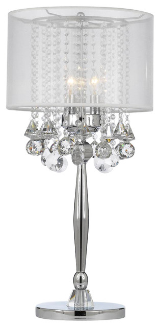 Silver Mist 3-Light Chrome Crystal Table Lamp With White Shade.