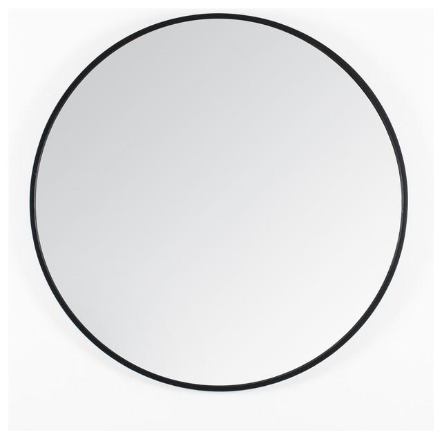 Vasto Metal Frame 24 Round Mirror Black Transitional Wall Mirrors By Madeleine Home Inc
