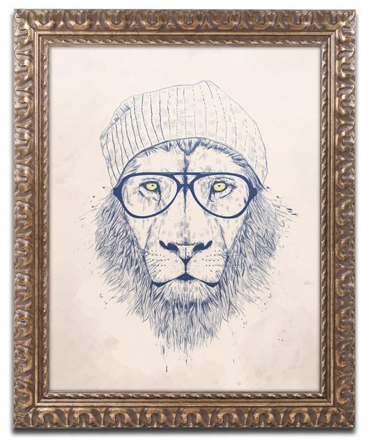 Balazs Solti &x27;cool Lion&x27; Ornate Framed Art, 16x20.