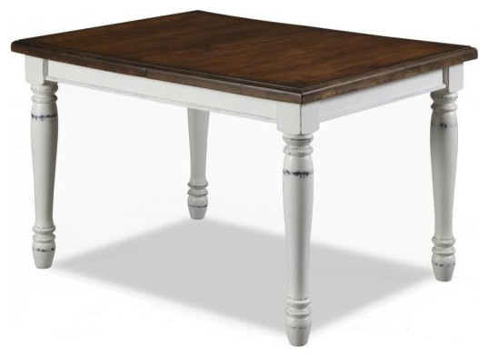 Inverness Dining Table, White And Brown.
