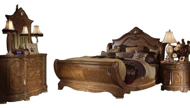 AICO Cortina Sleigh Honey Walnut Bedroom Set, King