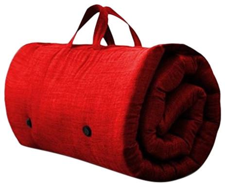 Contemporary Futon Mattress, Fabric, Handles, Red