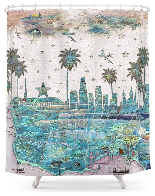 Society6 Los Angeles Skyline VIntage Map Shower Curtain Tropical Shower  Curtains  Tropical Shower Curtain