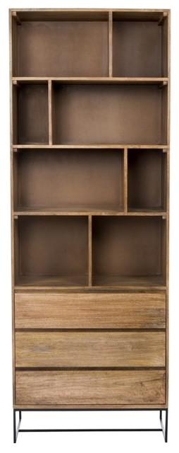 """86.5"""" T Bookshelf with Bottom Drawers Solid Mango Wood Construction Iron Base"""