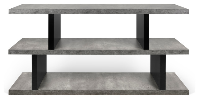 Tema Step Low Concrete Look / Pure Black Shelving Unit.