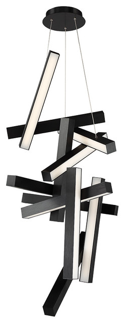 """Chaos  LED Round Chandelier 3000K, Black, 49"""""""