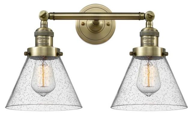 "Antique Brass 2-Light 18"" Bath, Vintage Bulbs"