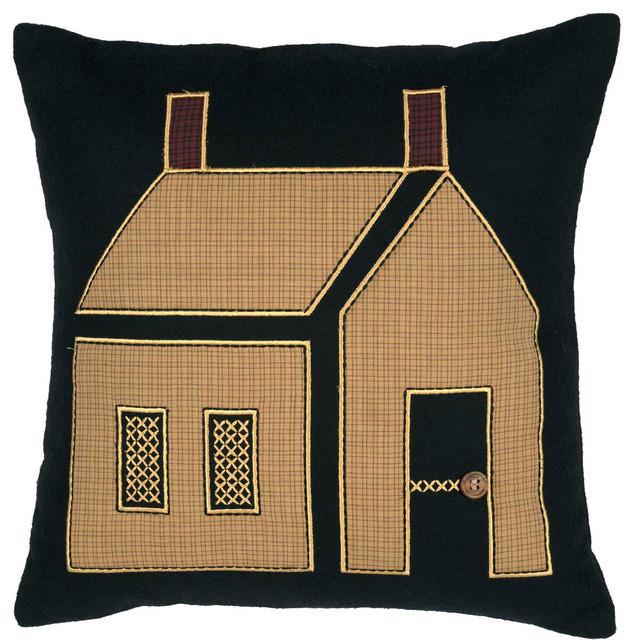 """Primitive House Pillow, 18""""x18""""."""
