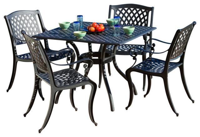 GDF Studio 5-Piece Marietta Outdoor Cast Aluminum Dining Set