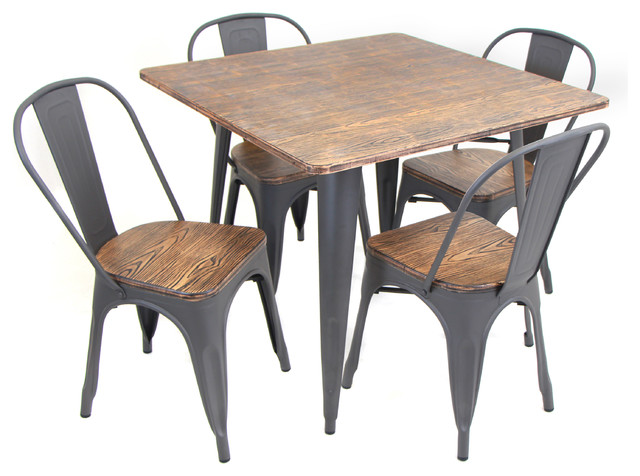 Oregon 5-Piece Industrial-Farmhouse Dining Set In Grey And Brown.