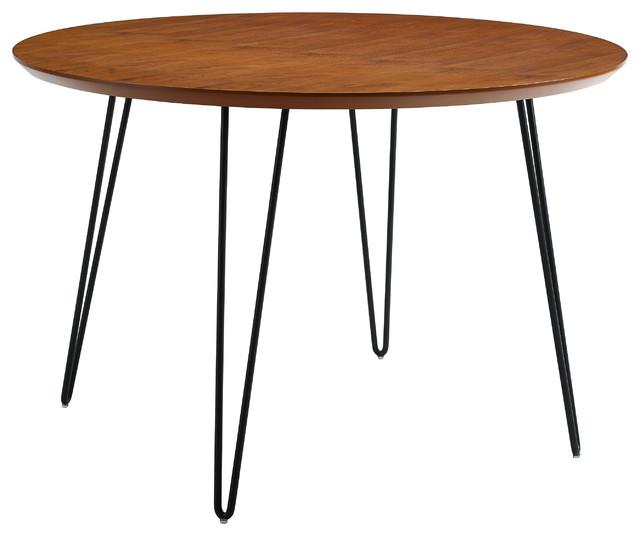 "46"" Round Hairpin Leg Dining Table - Walnut"