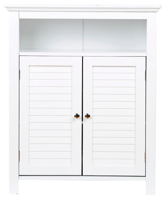 """32""""H Wooden Floor Storage Cabinet With 2 Shutter-Door, White - Beach Style - Storage Cabinets ..."""