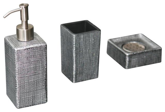 Venice soap dispenser set contemporary bathroom for Black and silver bathroom accessories