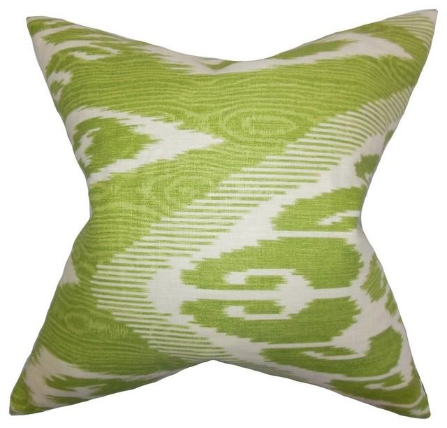 Green Ikat Throw Pillow : The Pillow Collection Inc. Fernande Ikat Pillow Green - Decorative Pillows Houzz