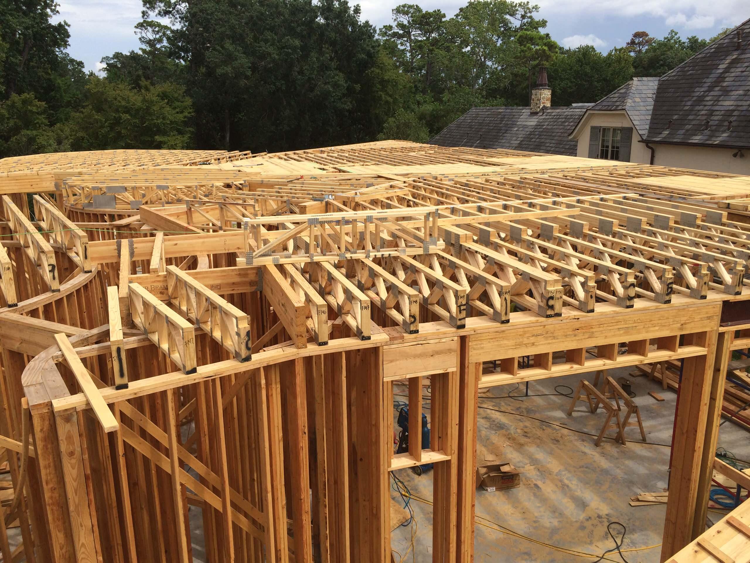 Floor trusses ready for subfloor