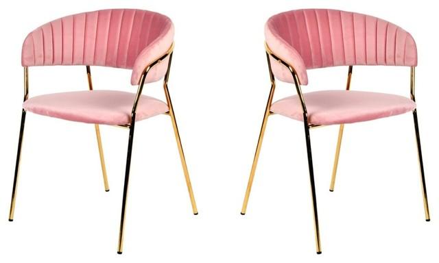 Modrest Brandy Modern Pink Fabric Dining Chair (set Of 2).
