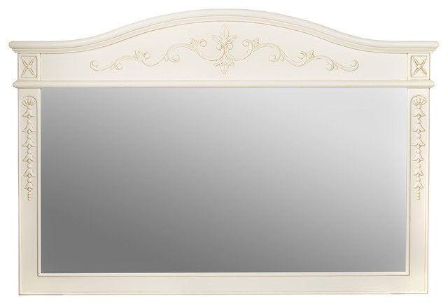 Garonne Wood Framed Rectangle Wall Mirror, Antique White, 59x40 by Maykke