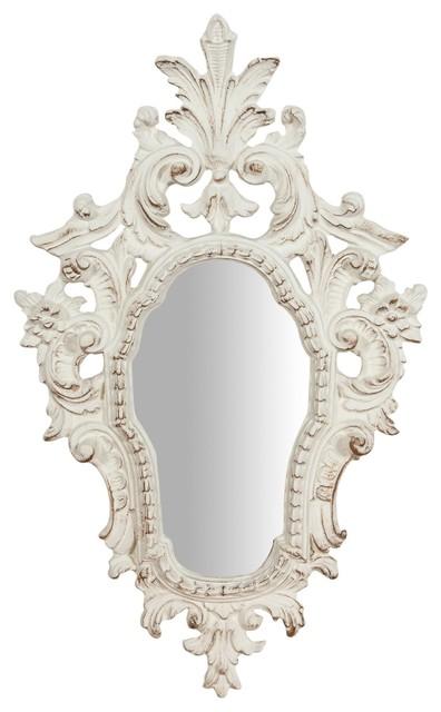 Antique Floral Wall Mirror, White, 40x65 cm