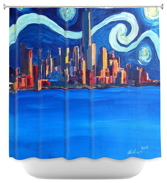DiaNoche Shower Curtain Markus Bleichner Starry Night In New York City Van Gogh