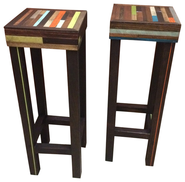 Handcrafted Staggered Wood Pub Table Bar Stools Recluse Clic Colors