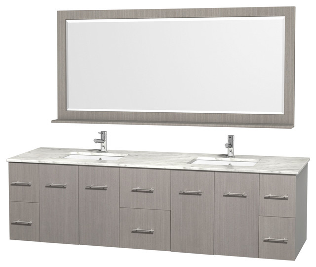 "Wyndham Collection 80"" Centra Gray Oak Double Vanity With Square Porcelain Sink."