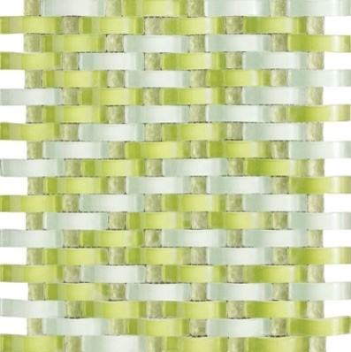 Vintrav Lime Green 3D Waves Glass Mosaic Tiles Sample Contemporary Tile