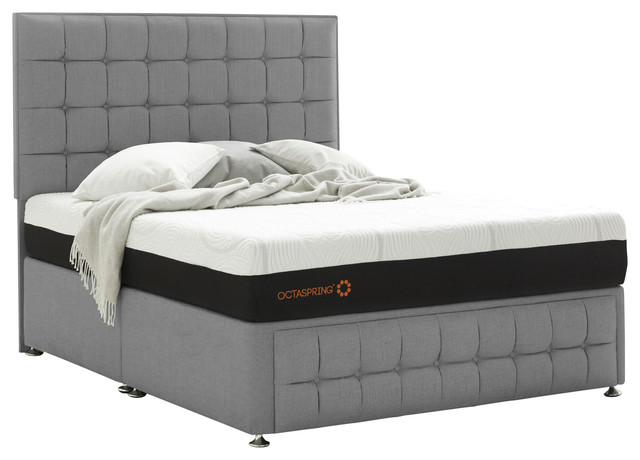 Venice double divan with mistral octaspring mattress for Grey double divan