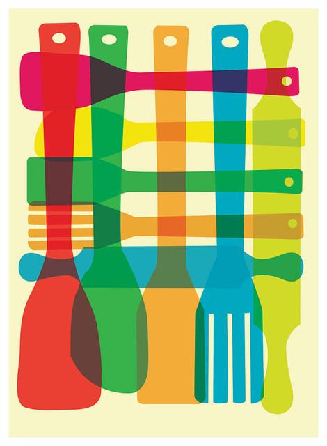 Utensil Stack Kitchen Art Print - Mid-Century Inspired Kitchen ...