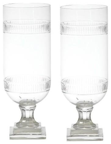 Tiffany Cut Gl Hurricane Lamp Lantern Set Of 2 Candle Holder Vase