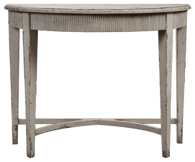 Uttermost demilune console table in antique white finish reviews houzz - White demilune console table ...