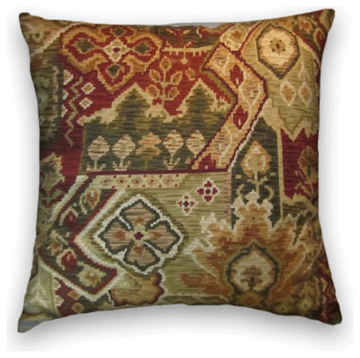 Olive Rust Kilim Style Throw with Cream, Green and Gold, - Traditional - Decorative Pillows - by ...