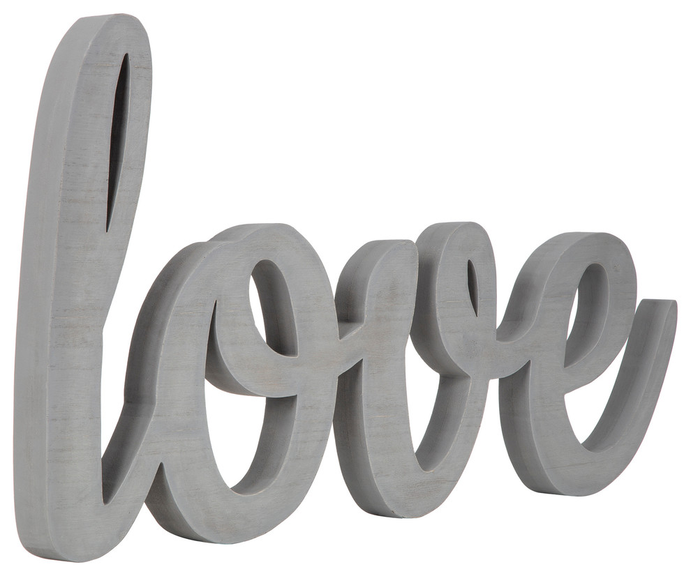 Gallery Solutions Large Gray Script Love Wood Cut Out Word Wall Decor Contemporary Wall Accents By Pinnacle Frames