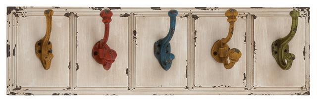 Austin Wood And Metal Wall Hook Rack, 5 Hooks