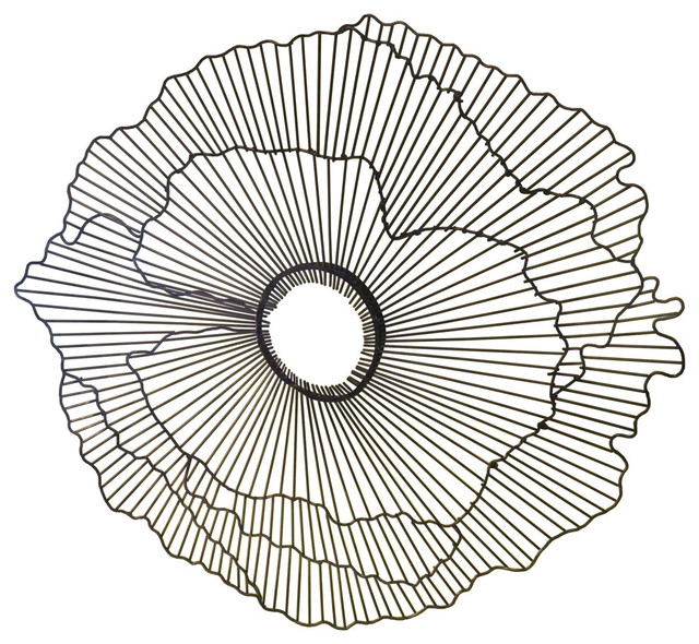 Modern 21 Wire Flower Wall Art Contemporary Metal Sculpture