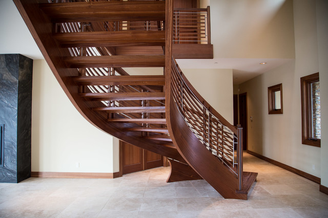 Music Contemporary Curved Floating Staircase Modern Seattle By Nk Woodworking