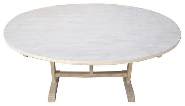 French Poplar and Oak Oval Wine Tasting Table - Midcentury