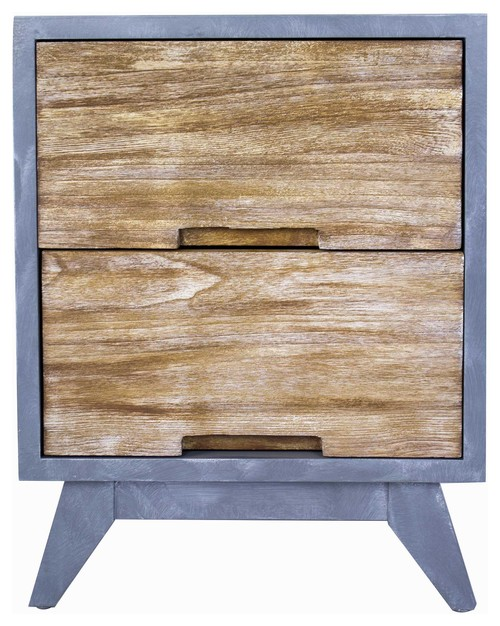 2-Drawer Accent Cabinet, Gray With Distressed Wood