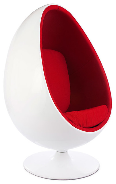 Retro White Shell Egg Pod Chair, Red Midcentury Armchairs And Accent