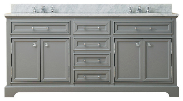 """Alegra Marble And Gray Bathroom Vanity, Without Mirror, Without Faucet, 72""""."""