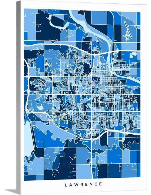 Lawrence Kansas City Map Wrapped Canvas Art Print, 12