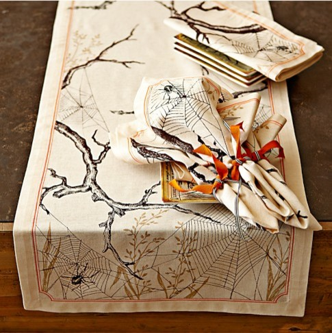 Printed halloween table runner contemporary holiday - Table runner decoration ideas ...