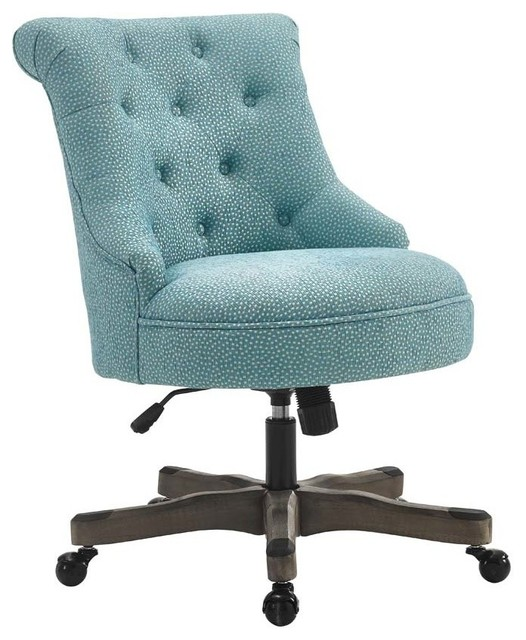 Sinclair Office Chair, Gray Wash Wood Base, Light Blue